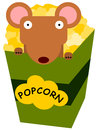Rat and popcorn a cartoon inside a box of Stock Photo