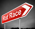 Rat race concept illustration depicting a sign with a Royalty Free Stock Photo