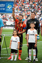 Rat razvan and pyatov andriy of football club shakhtar donetsk before a match metalurh d premier league donbass arena Stock Image