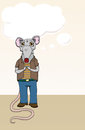 Rat sad cartoon character with casual cloths and speech bubble Stock Images