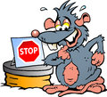 Rat standing in front of sewer with a stop sign hand drawn vector illustration an scared Stock Photos