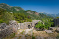 Ratac abandoned fortress walls ruins and gates to underground rooms montenegro Royalty Free Stock Images