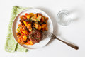 Ratatouille with red wholemeal rice on white background Royalty Free Stock Photography