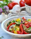 Ratatouille the traditional french vegetable stew in a ceramic dish rustic style Royalty Free Stock Photography
