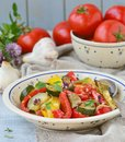 Ratatouille the traditional french vegetable stew in a ceramic dish rustic style Royalty Free Stock Photos