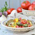 Ratatouille the traditional french vegetable stew in a ceramic dish rustic style Stock Image