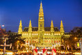 Rathaus and christmas market in vienna austria Stock Photo