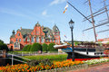 Rathaus and museum ship Friederike in Papenburg, Germany Royalty Free Stock Photo