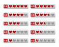 Rating hearts buttons