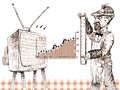 Rating research illustration of of a television Stock Images