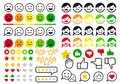 Rating, review, user emoji, flat icons, vector set