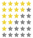 Rating stars golden to on white Stock Image