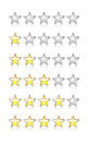 Rating stars metallic and glossy on white with reflection Royalty Free Stock Image