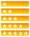Rating stars one to five star Royalty Free Stock Images