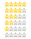 Rating stars set of golden Royalty Free Stock Photography
