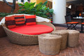 Rattan armchair furniture in garden. Royalty Free Stock Photo