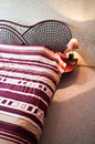 Rattan double bed Royalty Free Stock Photo