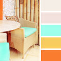Rattan furniture.  color palette swatches Royalty Free Stock Photo