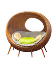 Rattan round wicker patio chairs for home living room decorated Royalty Free Stock Photo