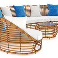 Rattan sofa end coffee table an close view. 3D