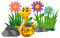 Rattle snake in flower garden