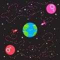 Raumschiffe von Mars und von Venus, die zur Erde gehen Stockbild