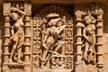 Rav ki vav stepwell detail of ornate stone carved walls lining the th century at patan gujarat india selected as a unesco world Royalty Free Stock Photography