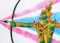 Ravana ten face shooting arrow bow with Thai flag background