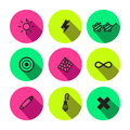 Rave punk and glam different symbols vector icon set in black neon colors Royalty Free Stock Image