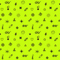 Rave punk and glam symbols seamless vector pattern in black and neon yellow green color can be used as icons Stock Photo