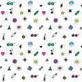 Rave punk and glam symbols seamless vector pattern in black and white and neon colors can be used as icons Royalty Free Stock Photos