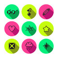 Rave punk luxury and glam different symbols vector icon set in black neon colors Stock Photo