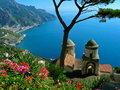 Ravello view over the italian amalfi coast from villa rufolo garden in Stock Images