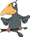 Raven from a fairy tale cartoon darkly grey sitting on branch Stock Photos