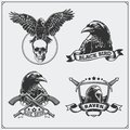 Raven heraldry coat of arms. Labels, emblems and design elements for sport club. Royalty Free Stock Photo