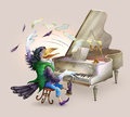Raven the pianist composes music raster illustration Royalty Free Stock Photo