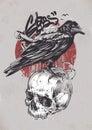 Raven on Skull