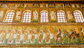 Ravenna mosaics of saint apollinare nuovo the procession female saints on the lowest strip saints and prophets on the central Royalty Free Stock Photos