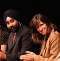 "Ravinder bhalla and dawn zimmer hoboken nj city councilman hoboken mayor participate in a panel discussion ""democracy's living Royalty Free Stock Image"