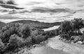 Ravine barranco valentin in black and white near the guazalamanco river cazorla region jaen province andalusia spain Stock Photography