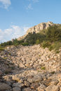 Ravine a dry bed full of huge boulders Royalty Free Stock Photography
