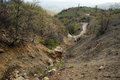 Ravine and road dirt in mountain area of turkey Royalty Free Stock Photo