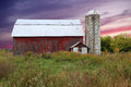 Ravines barn old grand river jenison michigan sunset landscape Stock Images