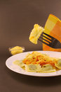 Ravioli on a fork Royalty Free Stock Photo