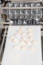 Ravioli pasta on automated machine in commercial kitchen Stock Photos