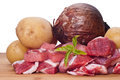 Raw beef potatoes and onion on white background Stock Photos