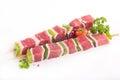 Raw beef skewer Royalty Free Stock Photo