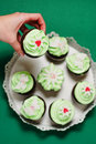 Raw butter and mint cupcakes Royalty Free Stock Photos