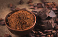 Raw cocoa beans, clay bowl  with cocoa powder, chocolate on sack Royalty Free Stock Photo