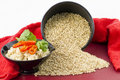 Raw and Cooked Brown Rice Royalty Free Stock Photo